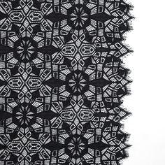 Black Geometric Lace Panel with Eyelash Edges