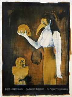 """""""Conversation with Death"""" 2013 ----- 22"""" x 30"""" Cyanotype and Gum Bichromate on BFK Rives"""