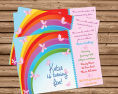 Get the sweet butterfly Rainbow birthday Invitations you've been looking for, for your rainbow or butterfly themed birthday party, featuring your little one's name, age and party information in rainbow colors. This butterfly Rainbow themed Birthday invitation is professionally printed on 100lb gloss cover stock. Great for rainbow 1st birthdays or any other age! Each invitation is 4x6 or 5x7, produced quickly and with high quality for your special day.