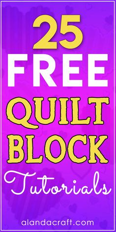 25 Free Quilt Block Tutorials - Full step by step video and written instructions. 25 Free Quilt Block Tutorials - Full step by step video and written instructions. Beginner quilt blocks and more advanced. Beginner Quilt Patterns, Quilting For Beginners, Quilt Block Patterns, Quilting Tips, Quilting Tutorials, Pattern Blocks, Quilting Designs, Bargello Patterns, Sewing Patterns