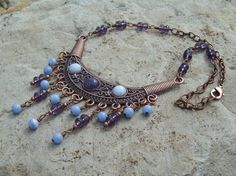 Copper Bib Necklace with Amethyst and Blue Lace Agate Cabochons and Beaded Dangles - Bohemian Beauty on Etsy, $45.00
