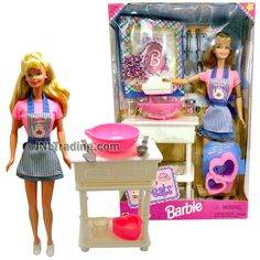 Year 1998 Barbie 12 Inch Tall Doll Set - SWEET TREATS Barbie in Kitchen Outfit with Mixer, Bowl, Table, Kitchen Utensils and Doll Stand Mini Houses, Doll Set, Doll Stands, Barbie Collection, Miniture Things, Kitchen Utensils, Furnitures, Childhood Memories, Mixer