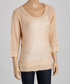 Blush Sequin Scoop Neck Sweater - Women