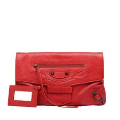 "Balenciaga Lambskin clutch with ""classic"" hardware and flap front magnetic closure"