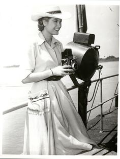 GRACE KELLY vintage 8x10 photo with box brownie camera