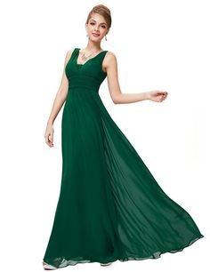 Ever Pretty Damen Chiffon V-Ausschnitt Lang Abendkleider Abschlussball Kleider Größe 36 Dunkelgrün