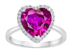 Star K HeartShape Created Pink Sapphire Halo Ring Size 7 ** You can find more details by visiting the image link.Note:It is affiliate link to Amazon.