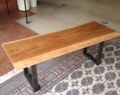 Live edge bench with back by PANwoodenproducts on Etsy