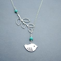 Sterling Silver, Turquoise Bird and Branch Lariat Necklace, Bird Necklace Sterling Silver Chain by RoseAndRaven in Etsy