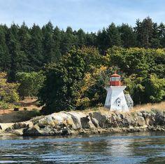 Lighthouse off Dionisio Point on Galiano. @galianoisland @hellobc @southerngulfislands #coast #lighthouse #westcoast #gulfislands #boating #salishsea #ocean #boatride #coastalliving #island #travelgram