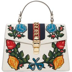 Gucci White Medium Sylvie Bag ($3,495) ❤ liked on Polyvore featuring bags, handbags, white, embroidered handbags, top handle bags, top handle handbags, woven purses and striped handbags