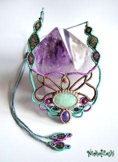 "Macramè necklace ""Unicorn magic"" with Amazonite and Amethyst cabochons"