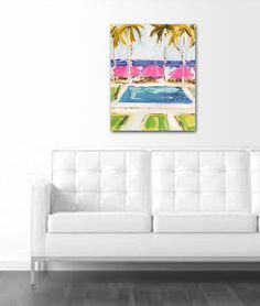 Swimming Pool Painting Home Decor pink abstract by Marendevineart