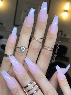 Sheer Milky Pink Long Nail Art Trends & Styles for 20182019 # Acrylic Nail Art - acrylic nails Best Acrylic Nails, Cute Acrylic Nails, Cute Nails, Gel Nails, Nail Polish, Acrylic Art, Gradient Nails, Glitter Nails, Toenails