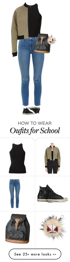 """""""School"""" by alesizzle on Polyvore featuring T By Alexander Wang, Converse, Frame Denim, Balenciaga, Louis Vuitton and Fendi"""