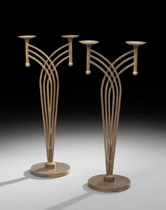 Pair of Art Deco-Style Double Candle Holders