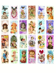 "children of spring art digital download collage sheet printable clipart graphics 1"" x 2"" inch images"