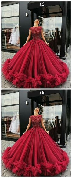 Tulle Appliques Red Wedding Dress, Cap Sleeve Ball Gown Wedding Dresses, Sexy Bridal Dress P1195 #promdresses #longpromdress #2018promdresses #fashionpromdresses #charmingpromdresses #2018newstyles #fashions #styles #hiprom #prom #ballgown #2018 #tulle