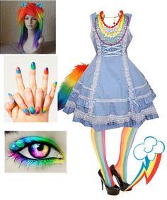 """Rainbow Dash Lolita"" by julchan ❤ liked on Polyvore"