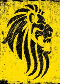 lion tribal tattoo leo pride proud artwork yellow black king jungle animals cats grunge grungy cool Animals