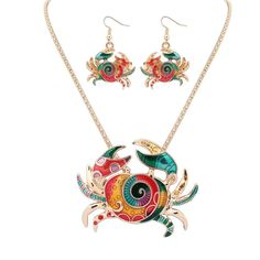 1 set Popular Sea Life Jewelry Crab Pendant and Earring Sets Fashion Accessories