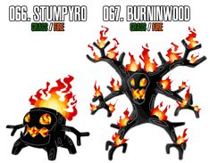 More fakemon, and this time I went with the idea of burning trees. Been trying to come up with a fire grass type for a while now and this one made the most sense they're both genderless species 066...