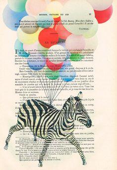 Zebra Illustration Mixed Media Digital Illustration Print Art Poster Holiday Decor Illustration wall decoration animal art: flying zebra