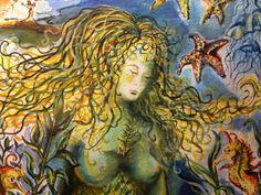 Mermaid with Friends  Detail from Watercolor on Paper by CSGibbs