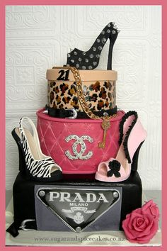 Prada, Louis Vuitton, Loubotin, Chanel ~ Designer Brands Sexy 21st Designer Cakes, Cupcakes and Sugarcraft www.sugarandspicecakes.co.nz Heel shoe cake