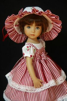 "Summer Cherries OOAK Outfit for Effner 13"" Little Darling ~ by Glorias Garden. SOLD BIN for $79.00"