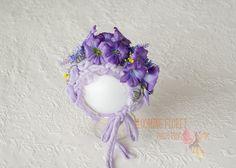 Flower  baby bonnet ,Floret Bonnet, Flower baby  Hat, Photo Prop, Flower bonnet, purple flowers by BloomingFloretProps on Etsy