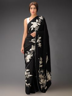 Buy Black Silver Rose Placement Crepe Jacquard Parsi Gara Saree Sarees Woven Navroz Jubilation Embroidered Blouses Apparel & Clutches Online at Jaypore.com