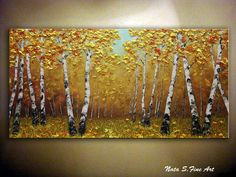 "Fall Birch Tree Painting.Abstract Birch Forest Painting 24"" x 48""   by Nata S #Impressionism"
