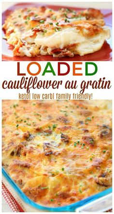 Our loaded cauliflower au gratin makes the perfect side dish for any meal while being both keto and low carb friendly. You definitely won't miss the potatoes here! Loaded Cauliflower Casserole, Cauliflower Gratin, Cauliflower Cheese, Low Carb Side Dishes, Side Dish Recipes, Low Carb High Protein, Atkins, Easter Side Dishes, Ketogenic Recipes