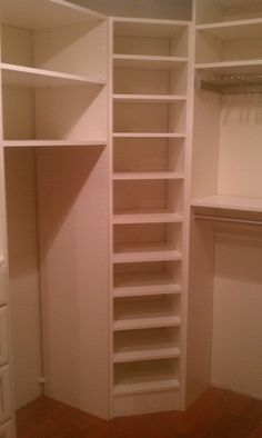 corner storage in the closet for folded clothes/shoes/purses