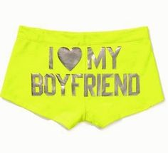 """http://stores.ebay.com/VSPINK-STORE VICTORIA SECRET Pink.Ruched Shortie Panty,""""I LOVE MY BOYFRIEND""""yellow"""