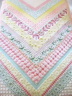 handmade pastel quilt CANDY CHEVRONS cottage chic chenille geometric Christmas quilt 54 X 78 inches 137 cm X 198 cm white minky dot