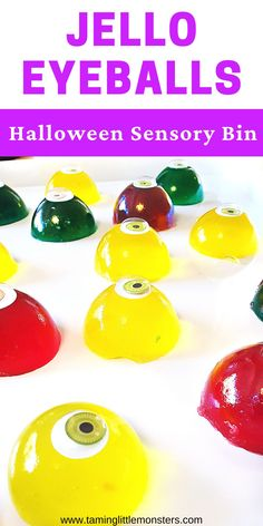Jelly Eyeballs are a fun sensory bin for Halloween. This taste-safe sensory activity is suitable for babies, toddlers and preschool. Your kids will delight in watching as these eyes wobble around.    #halloween #sensory #babies #toddlers #preschool