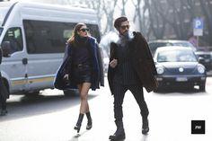 Patricia Manfield & Giotto Calendoli in Milan fashion Week Fall Winter 2015.