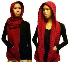 Hooded Scarf  (3 sizes) - PDF Crochet Pattern