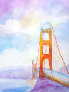Hey, I found this really awesome Etsy listing at https://www.etsy.com/listing/213170305/original-watercolor-bridge