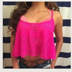 """New PINK VS Medium netted SWIM crop top New with tags-measures:20"""" (arm pit to arm pit)- length: 20"""" (top to bottom of hem)---Color:HOT PINK PINK Victoria's Secret Swim Coverups"""