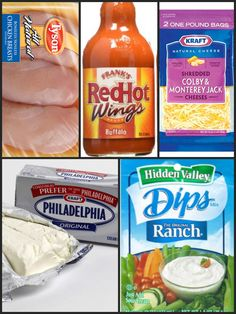 Easy Crock Pot Buffalo Chicken Dip ~1.5-2 lbs. Chicken Breasts ~1-1.5 Packs of Cream Cheese ~1.5 cups Shredded Cheese ~Ranch Dip Mix ~1 Bottle your fave Wing Sauce  Put chicken, 2/3 a bottle wing sauce(12 oz. bottle) and 1/2 packet of dip mix in crock pot.  Cook on low 6-8 hours.  Shred chicken with fork and add cheese, cream cheese, mix well and keep on low till all is melted.  Add extra wing sauce if you think it needs more spice!