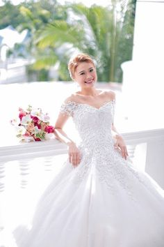 This week's bride, Mary Joy Enriquez-Soliman, wanted to have a fairytale-like wedding---complete with a tiara! Read her Bridal Journey here. Wedding Evening Gown, Evening Gowns, Wedding Dresses, Bridal Looks, Hair Makeup, Joy, Bride, Mak Tumang, Inspiration