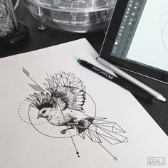 Geometric dotwork bird animal tattoo design / custom design for Jenny / Requests…