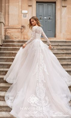 naviblue 2019 bridal long sleeves illusion bateau straight across neckline heavily embellished bodice romantic a line wedding dress covered lace back royal train 10 bv - Naviblue 2019 Wedding Dresses Wedding Inspirasi Long Sleeve Wedding, Long Wedding Dresses, Bridal Dresses, Tulle Wedding, Wedding Gowns With Sleeves, Tulle Ballgown Wedding Dress, Wedding Dress Long Train, Disney Inspired Wedding Dresses, Cathedral Wedding Dress