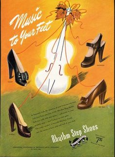 Rhythm Step Shoes are music to your feet! (1946). #vintage #shoes #fashion…
