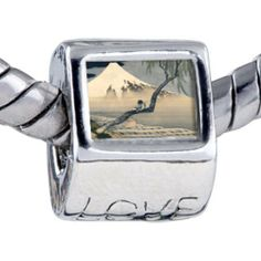 Pugster Bead Boy On Mount Fuji Beads Fits Pandora Bracelet Pugster. $0.97. It's the photo on the love charm. Fit Pandora, Biagi, and Chamilia Charm Bead Bracelets. Hole size is approximately 4.8 to 5mm. Unthreaded European story bracelet design. Bracelet sold separately