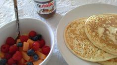 Gluten Free Breakfast Pancakes, fruit and nutella