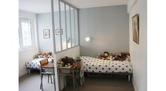Love this idea with the open wall for a shared bedroom Bedroom Divider, Bedroom Decor, Shared Bedrooms, Small Shared Bedroom, New Room, Girls Bedroom, Room Inspiration, Home Decor, Room For Two Kids